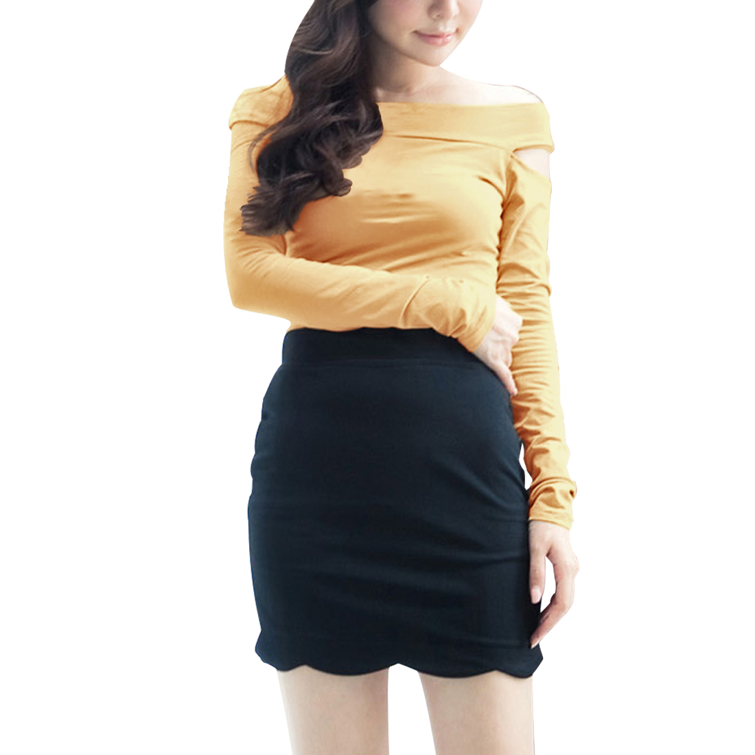 Women Yellow Cut Out Shoulder Long Sleeve Leisure Spring Shirt XS