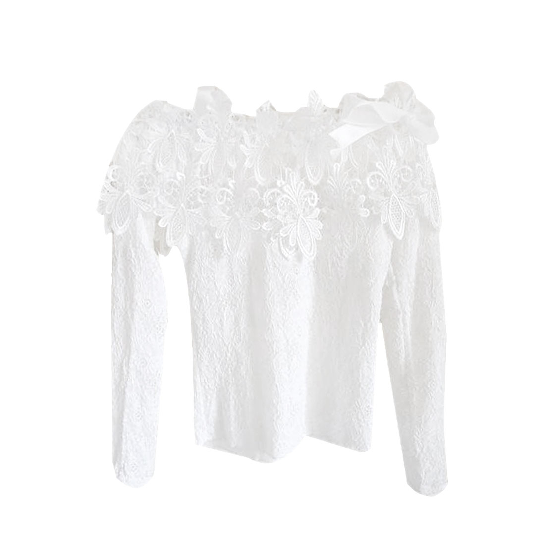 Ladies White Long Sleeves Self Tie Strap Lace Spring Blouse XS