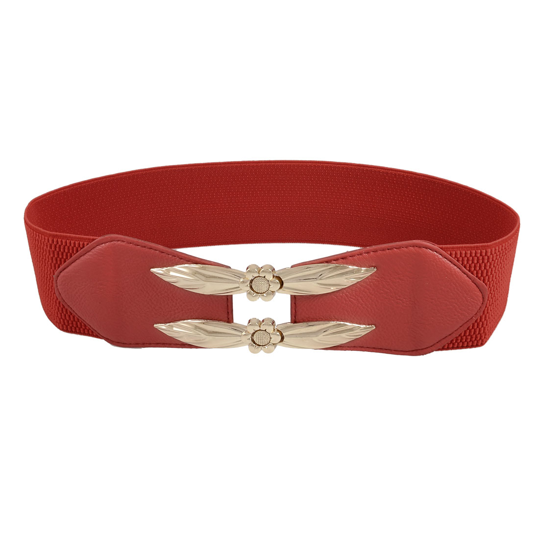 Women Gold Tone Leaf Sunflower Accent Red Elastic Waist Belt Wiastband