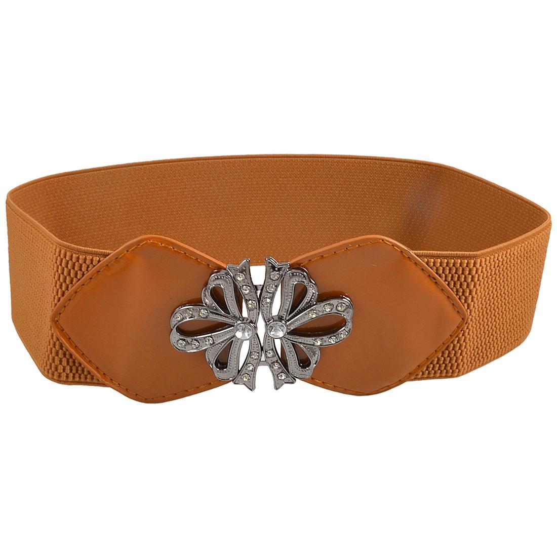 Rhinestone Inlaid Metal Flower Accent Brown Stretchy Waist Belt Band for Ladies