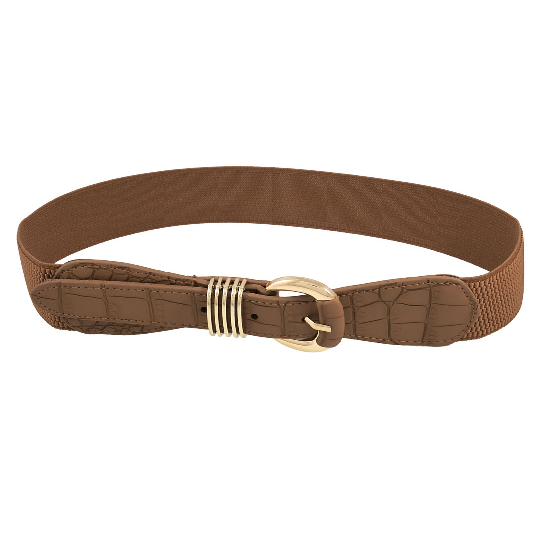 Crocodile Printed Faux Leather Ladies Brown Stretchy Waist Belt Cinch Band