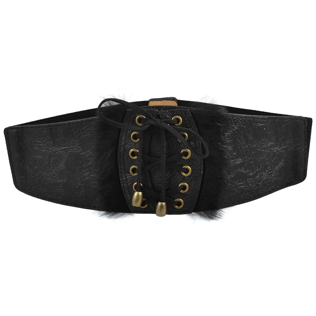 Ladies Lace-up Style Black Faux Leather Elastic Waist Belt Band Cinch