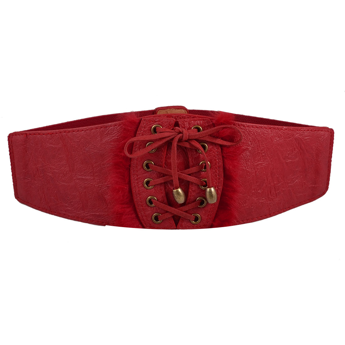 Woman Women Lace-up Style Red Faux Leather Stretchy Waist Belt Band Cinch