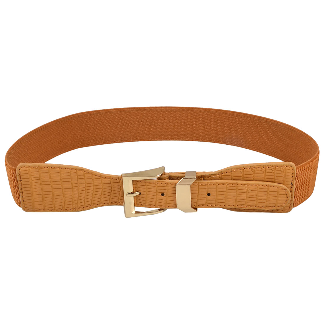 Lady Gold Tone Buckle Crocodile Pattern Brown Elastic Waist Belt Waistband
