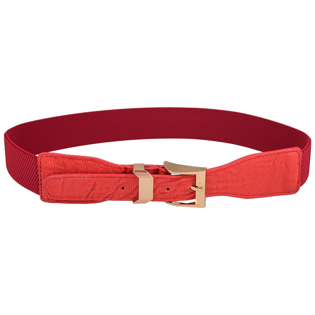 Lady Woman Gold Tone Buckle Crocodile Print Red Stretch Waist Belt Waistband