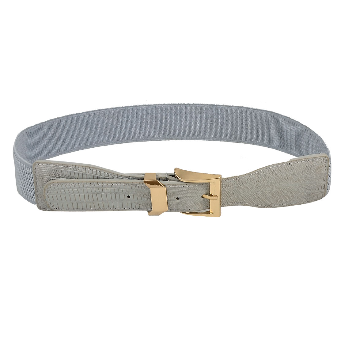 Gold Tone Buckle Crocodile Pattern Ladies Gray Stretchy Waist Belt Waistband