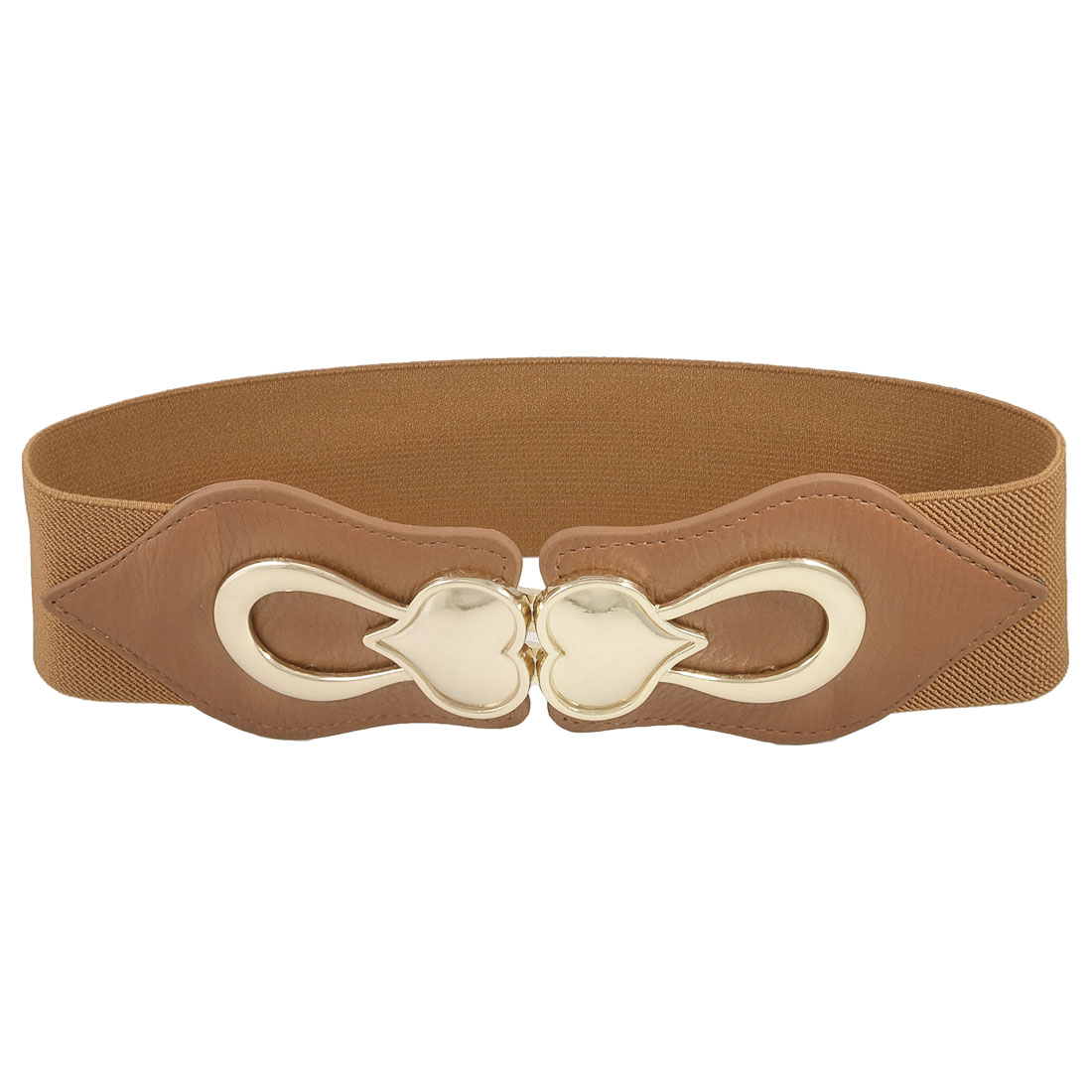 Gold Tone Heart Accent Women Ladies Brown Stretchy Waist Belt Cinch Band