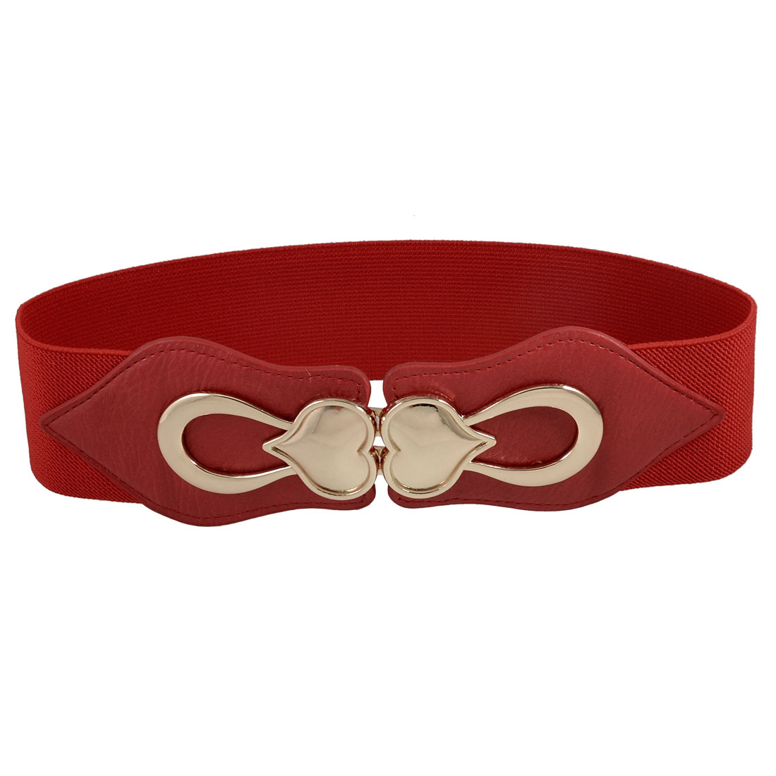 Gold Tone Heart Accent Women Ladies Red Stretchy Waist Belt Cinch Band