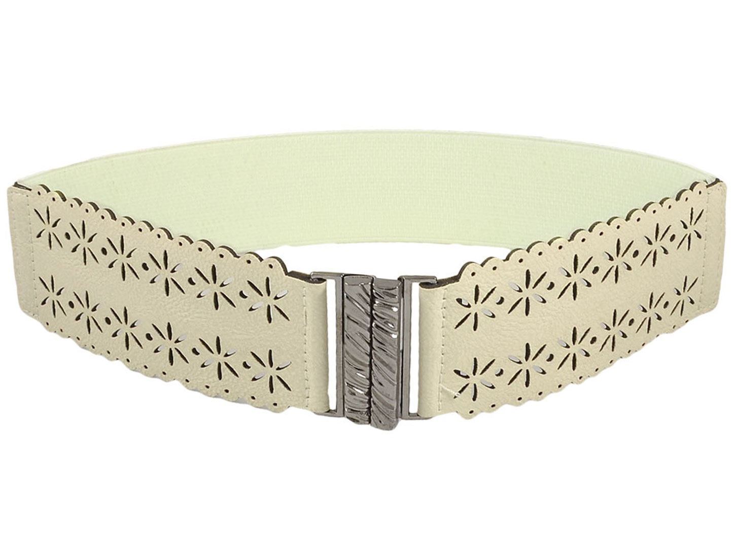 Ladies Hollow Flowers Decor Waved Edge Ivory Color Elastic Waist Belt