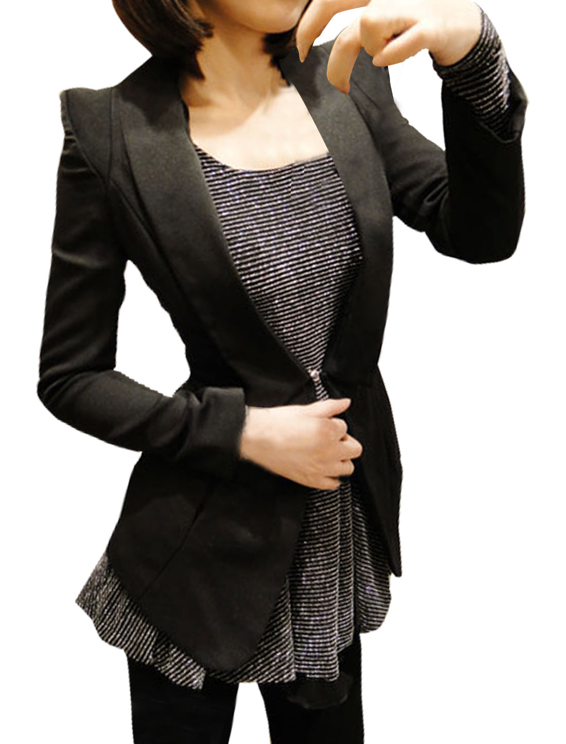 Women Black Lapel Collar Long Sleeve Blazer Outwear M