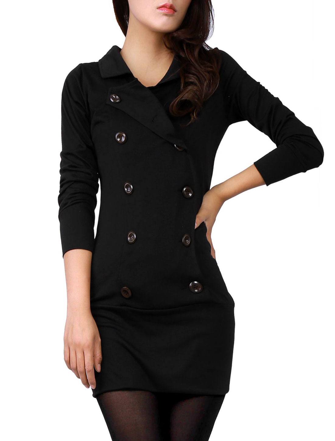 Women Black Convertible Collar Double Breast Long Sleeve Autumn Dress M