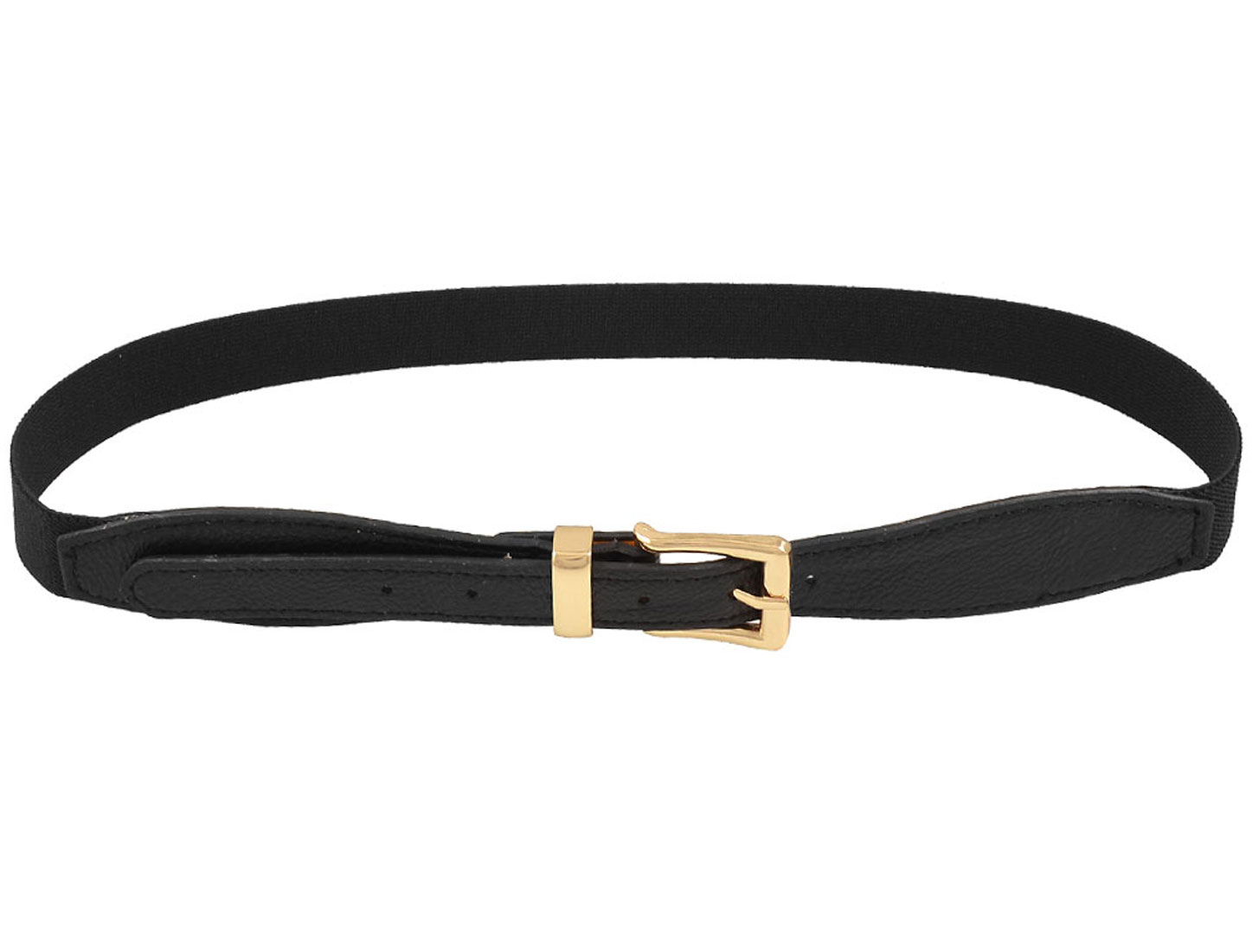 Ladies Women Lychee Pattern Adjustable Black Elastic Waist Belt