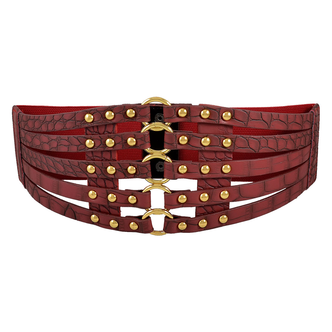 Crocodile Pattern Metal Stud Accent Ladies Red Elastic Waist Belt Waistband