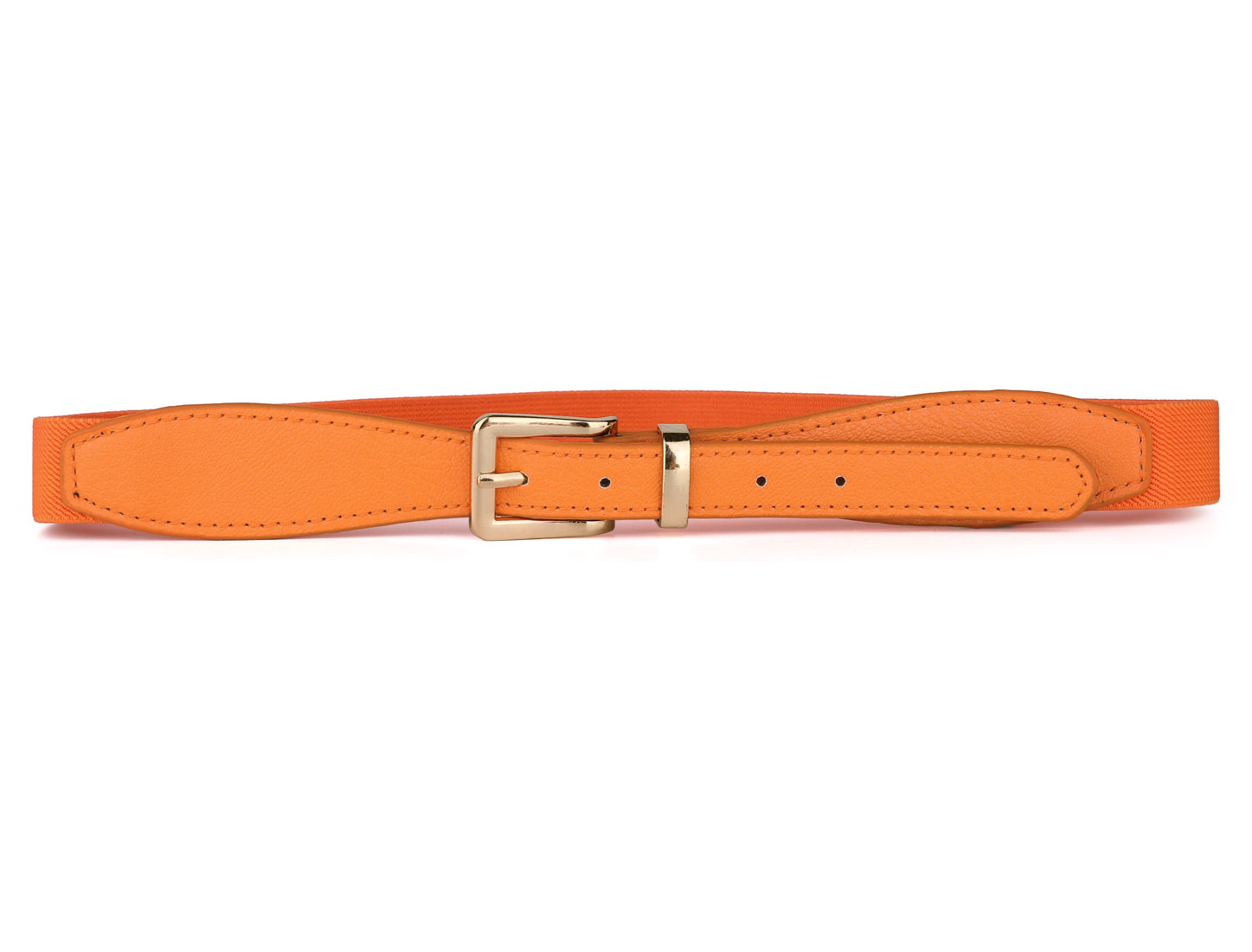 Ladies Women Litchi Pattern Adjustable Orange Elastic Waist Belt