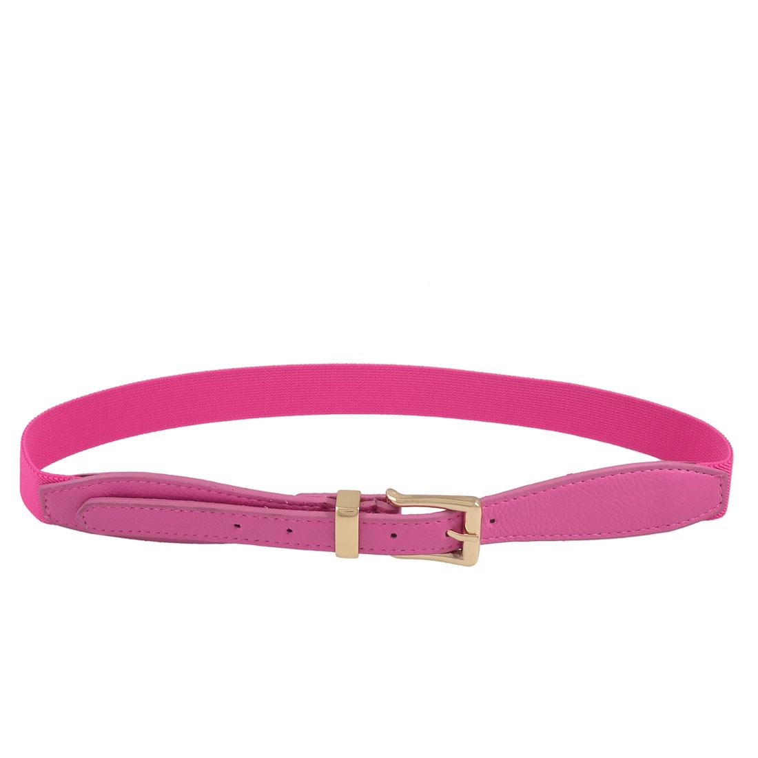 Ladies Women Litchi Pattern Adjustable Magenta Elastic Waist Belt