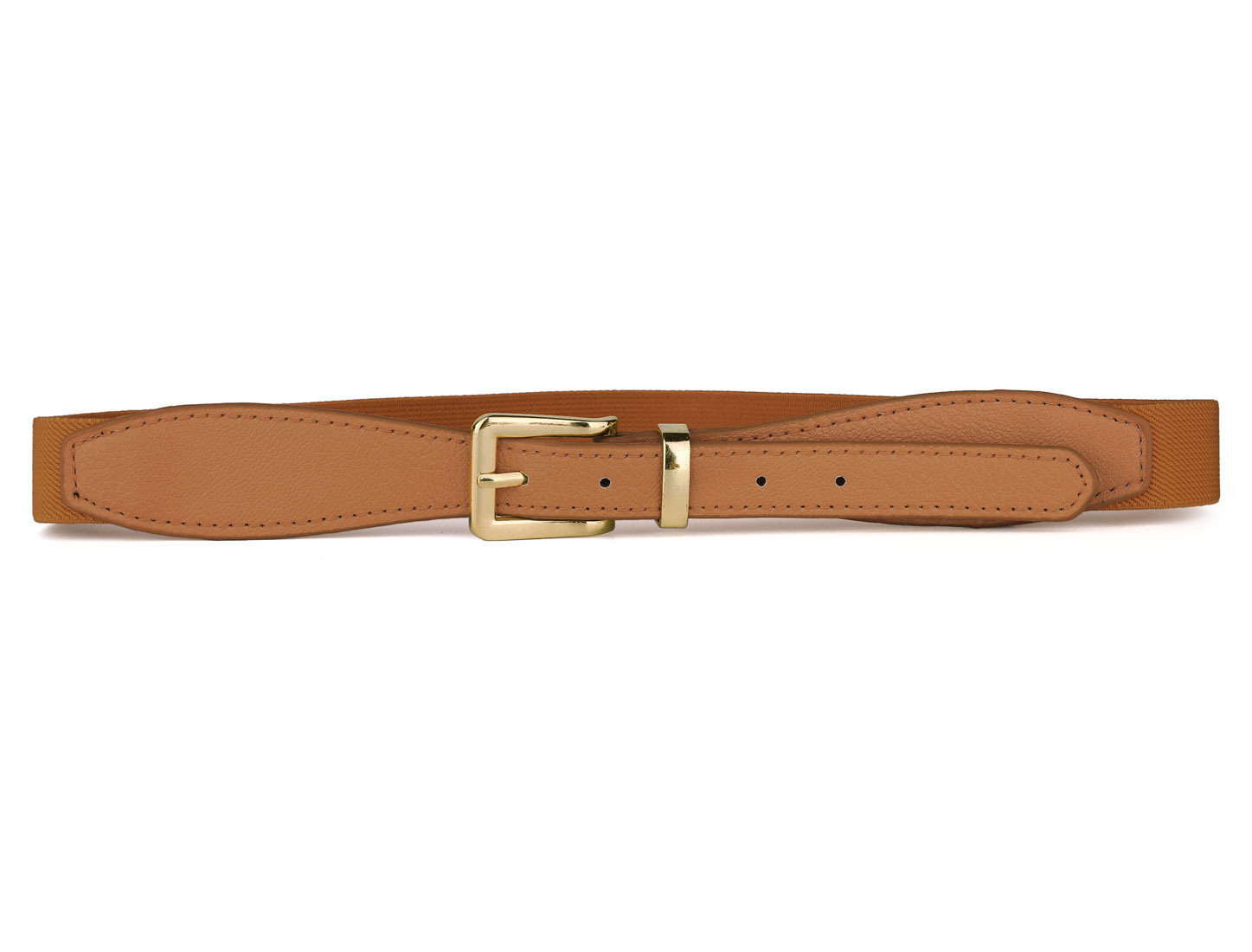 Ladies Women Litchi Pattern Adjustable Brown Elastic Waist Belt