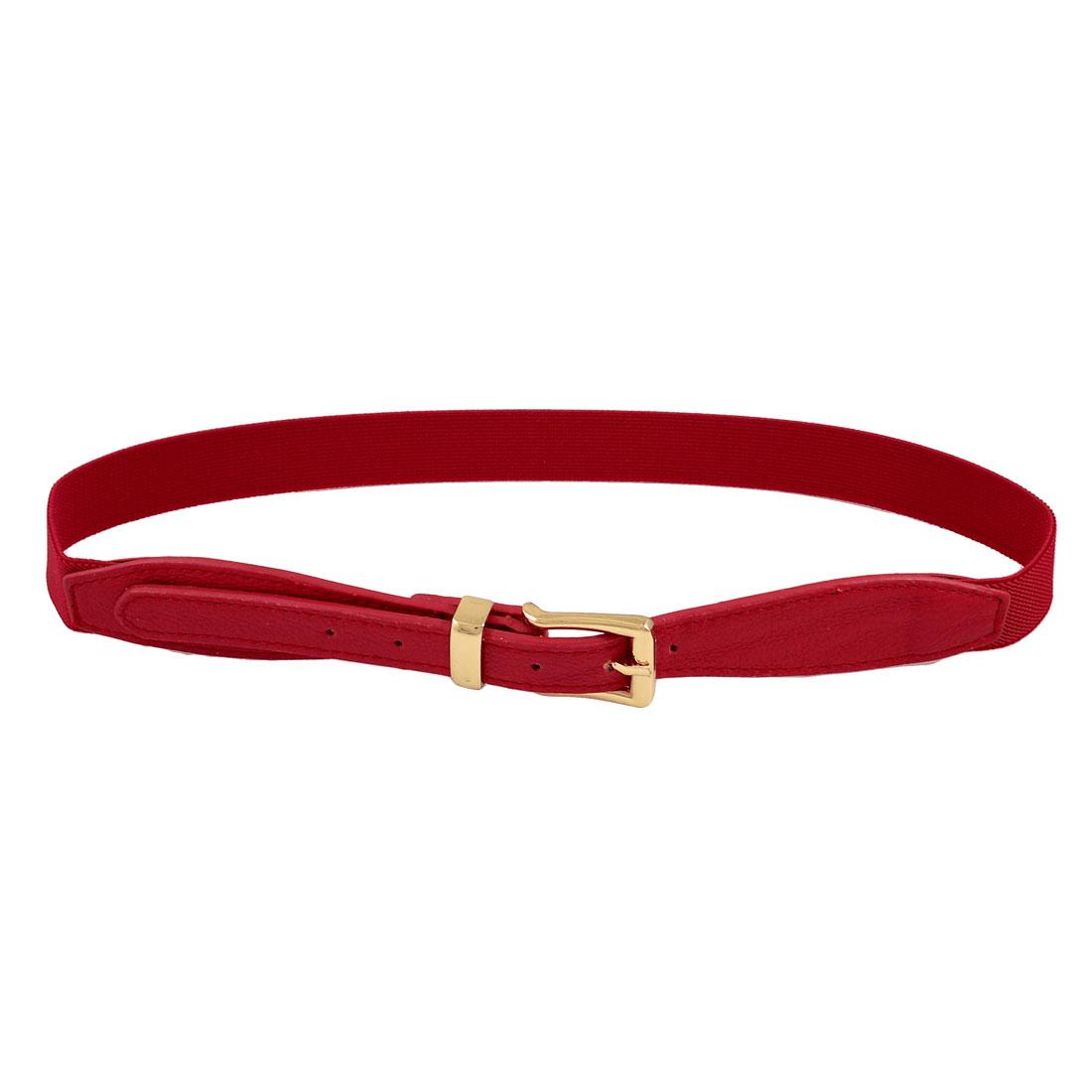 Ladies Women Litchi Pattern Adjustable Red Elastic Waist Belt