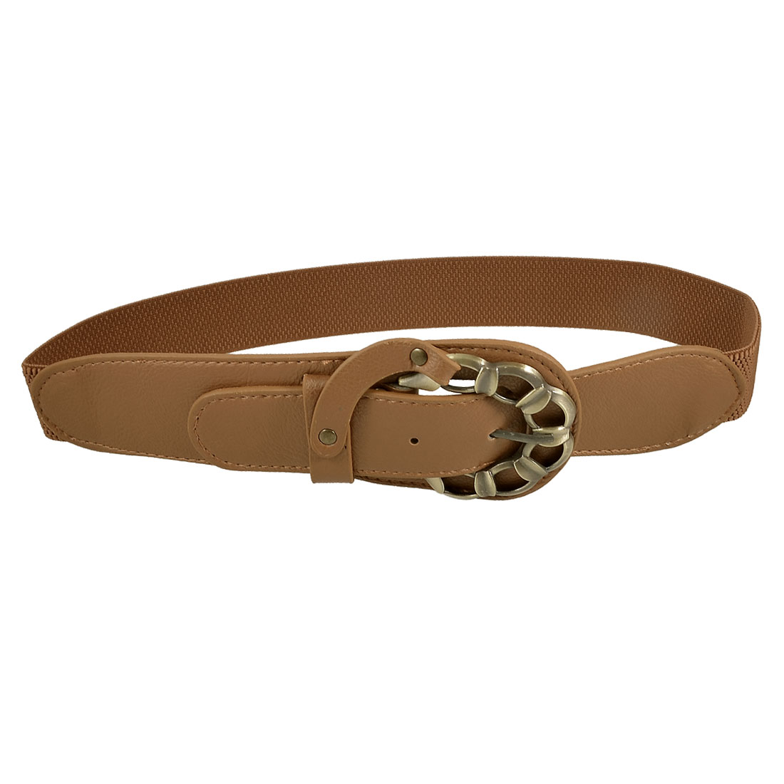 Woman Bronze Tone Buckle Design Brown Stretchy Band Waistband Waist Belt