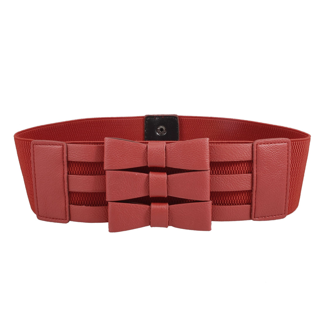Faux Leather Bowknots Decorated Lady Woman Red Stretchy Waist Belt Band