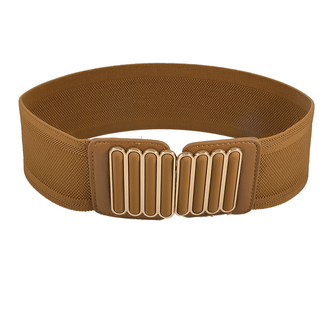 Lady Woman Metal Vertical Bars Decorated Brown Elastic Band Waist Belt