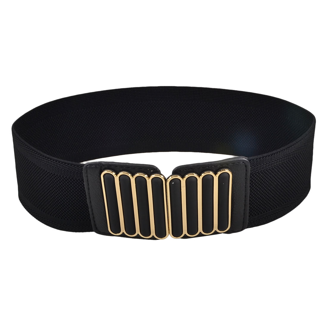 Lady Woman Metal Vertical Bars Accent Black Elastic Band Waist Belt