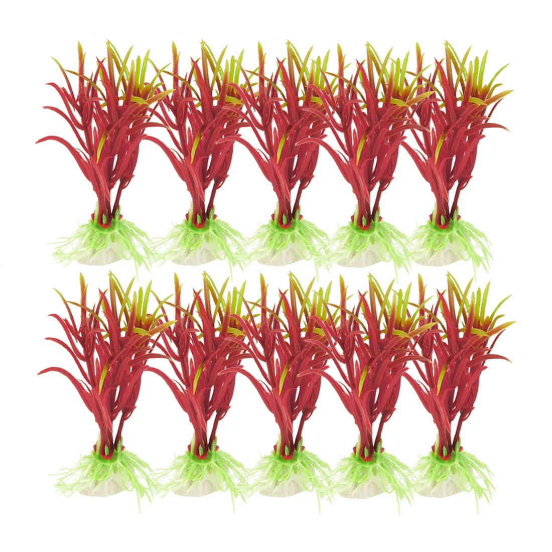 "10 Pcs 4.1"" Red Pale Green Plastic Grass Plants Adorn for Fish Tank Aquarium"