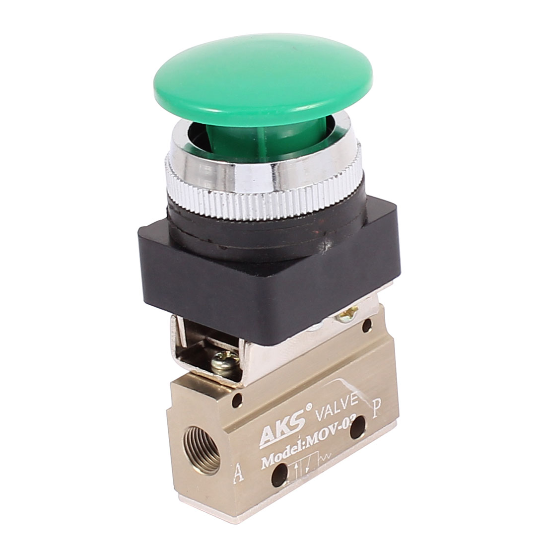 MOV-03 9.5mm Thread 3/2 Way Momentary Green Mushroom Button Air Mechanical Valve