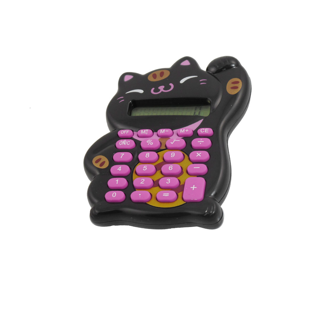 Lucky Cat Design Button Battery Powered 8 Digits Calculator Black