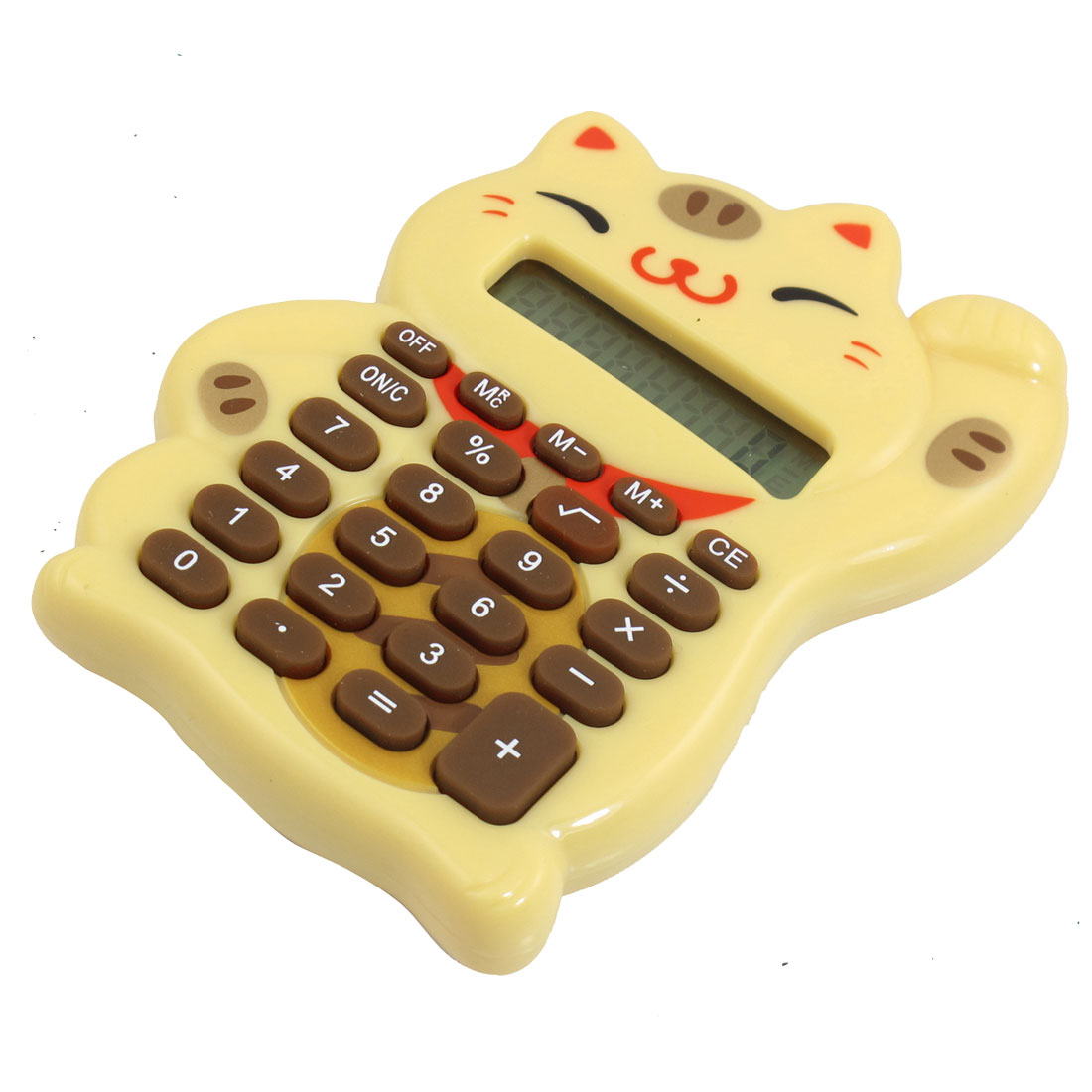 Wheat Lucky Cat Shaped 8 Digits LCD Display Electronic Calculator