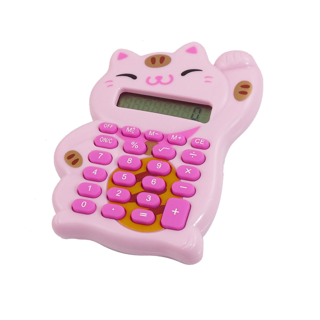 Pink Lucky Cat Shaped 8 Digits LCD Display Electronic Calculator