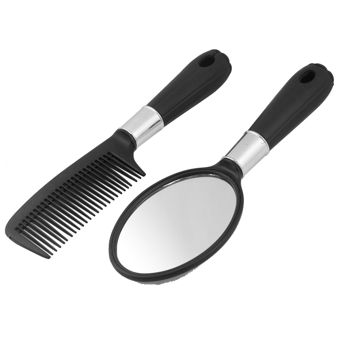 Hairstyle diy black plastic handle rectangle hair comb mirror set Rocker chic medium shag hairstyles