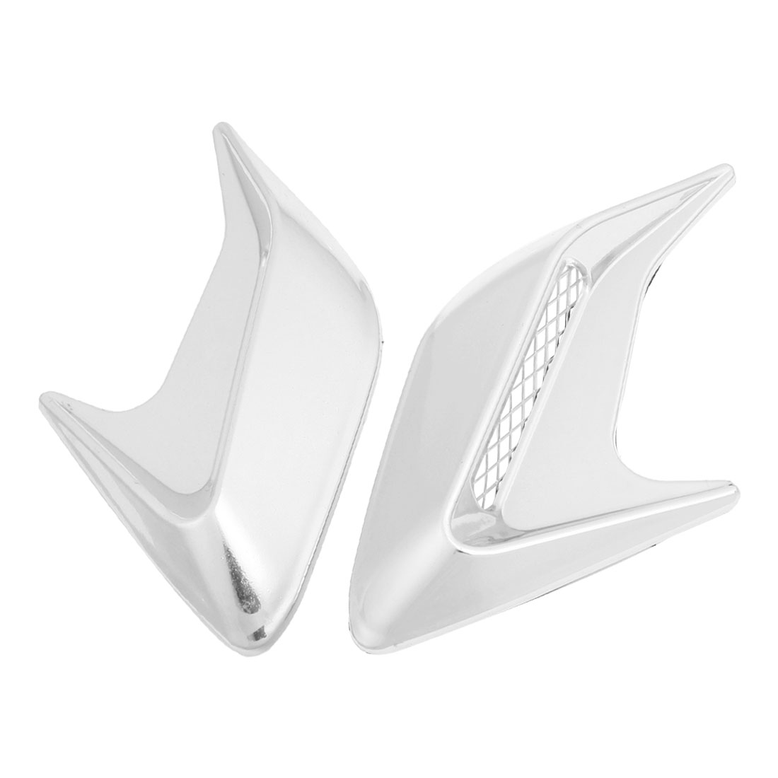 2 Pcs Car Exterior Shark Fin Shape Air Flow Fender Sticker Silver Tone