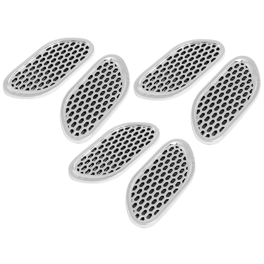 6 Pcs Car Exterior Plastic 3D Stickers Black Silver Tone
