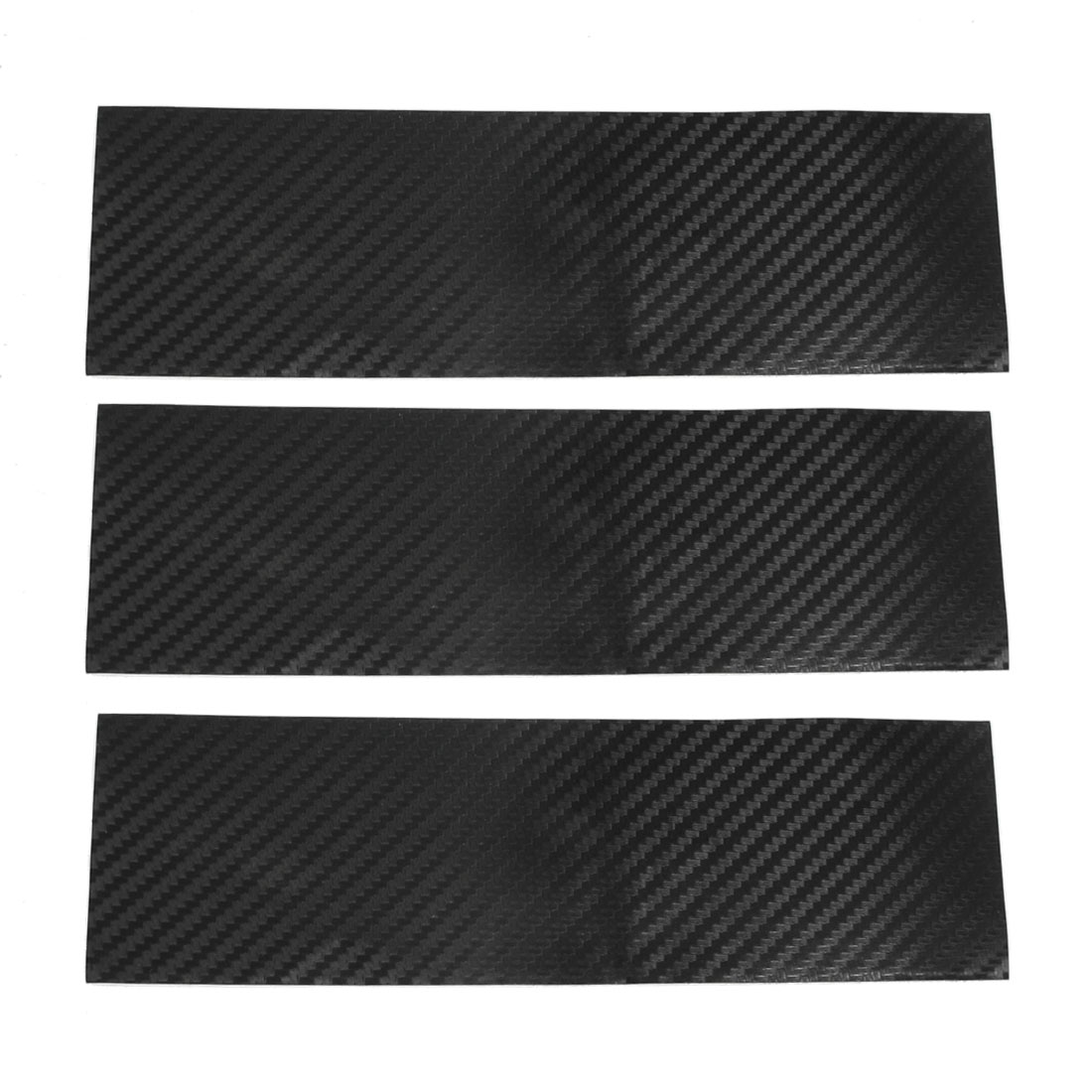 3 Pcs Black Car Wave Pattern Carbon Fiber 3D Film Sticker 6x20cm