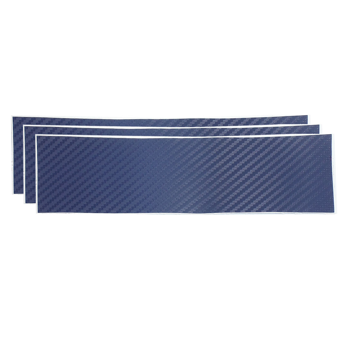 3 Pcs Blue Car Decorative Carbon Fiber 3D Film Sticker 6x20cm