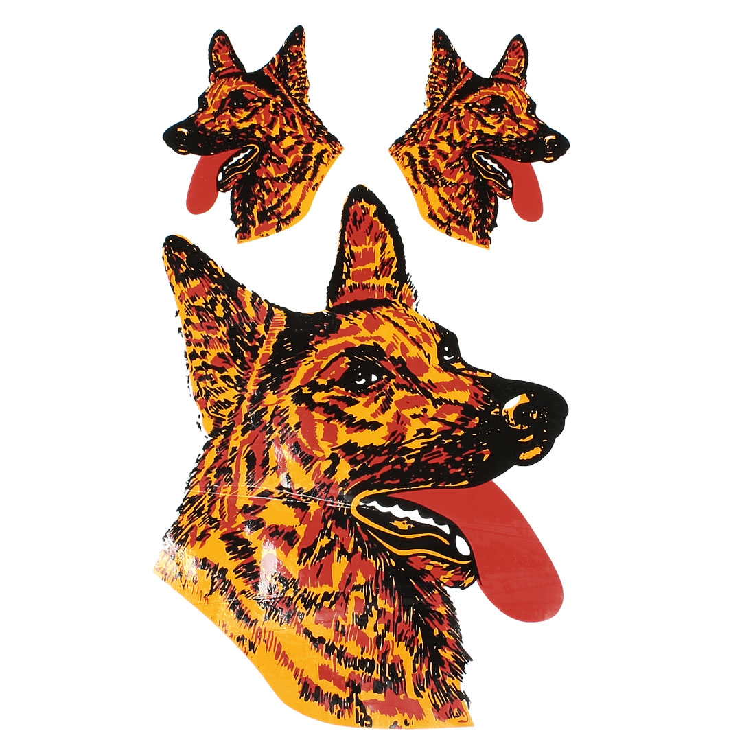 3 in 1 Orange Black Car Decorative Wolf Pattern Decal Sticker
