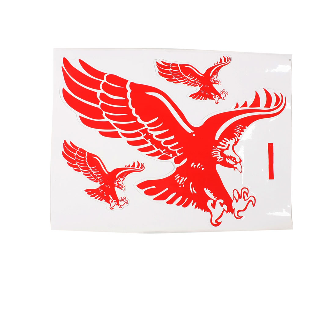 3 in 1 Red White Car Exterior Decorative Flaming Eagle Pattern Decal Sticker