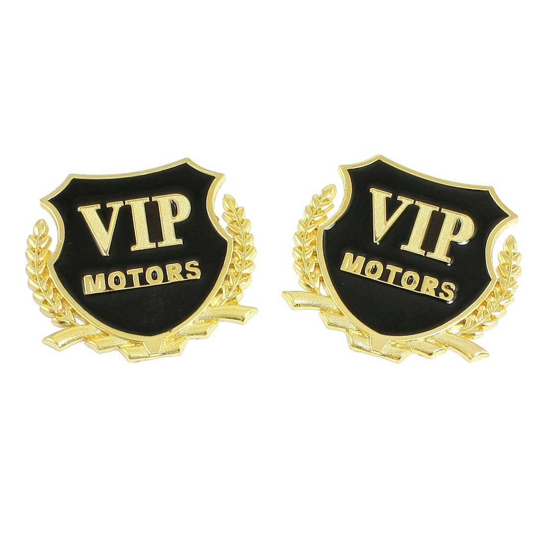 2 Pcs Car Decorative 3D VIP Letters Badge Emblem Decal Sticker Gold Tone Black