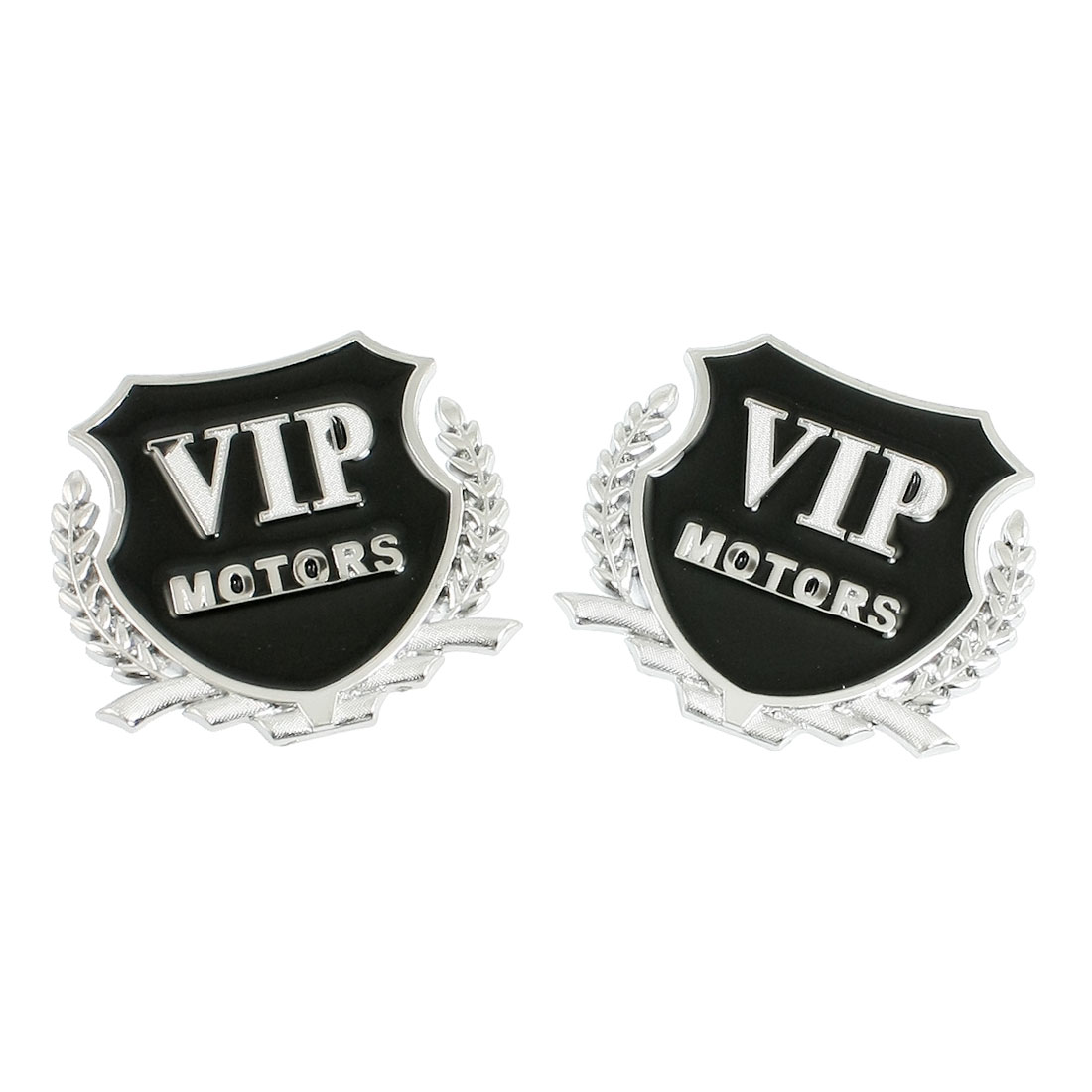 2 Pcs Car Decorative 3D VIP Letters Badge Emblem Decal Sticker Silver Tone Black