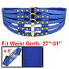 Crocodile Pattern Metal Stud Accent Ladies Blue Elastic Waist Belt Waistband