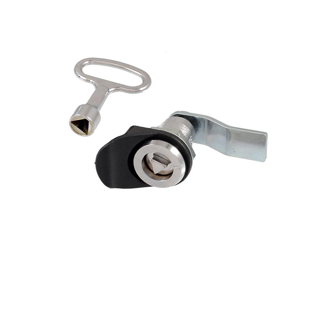 Cabinet Security Panel Lock + Silver Tone Triangular Socket Key