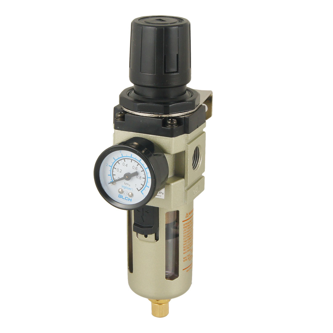 0.05-0.85Mpa Air Source Gas Treatment Pressure Regulator w 0-1Mpa Pressure Gauge