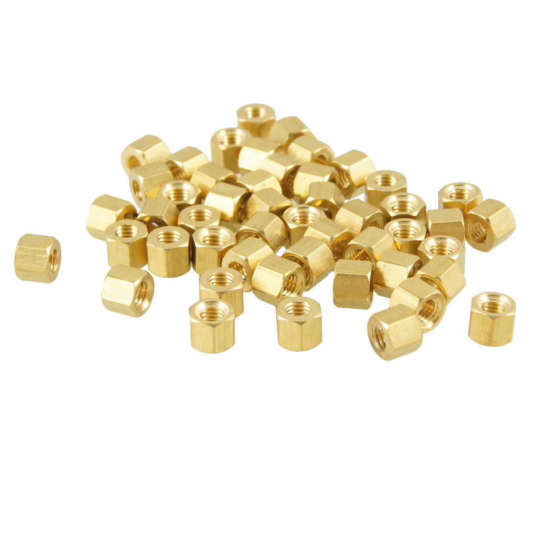 50 Pcs M3X4mm Gold Tone Hexagonal Female Thread Standoff Spacers