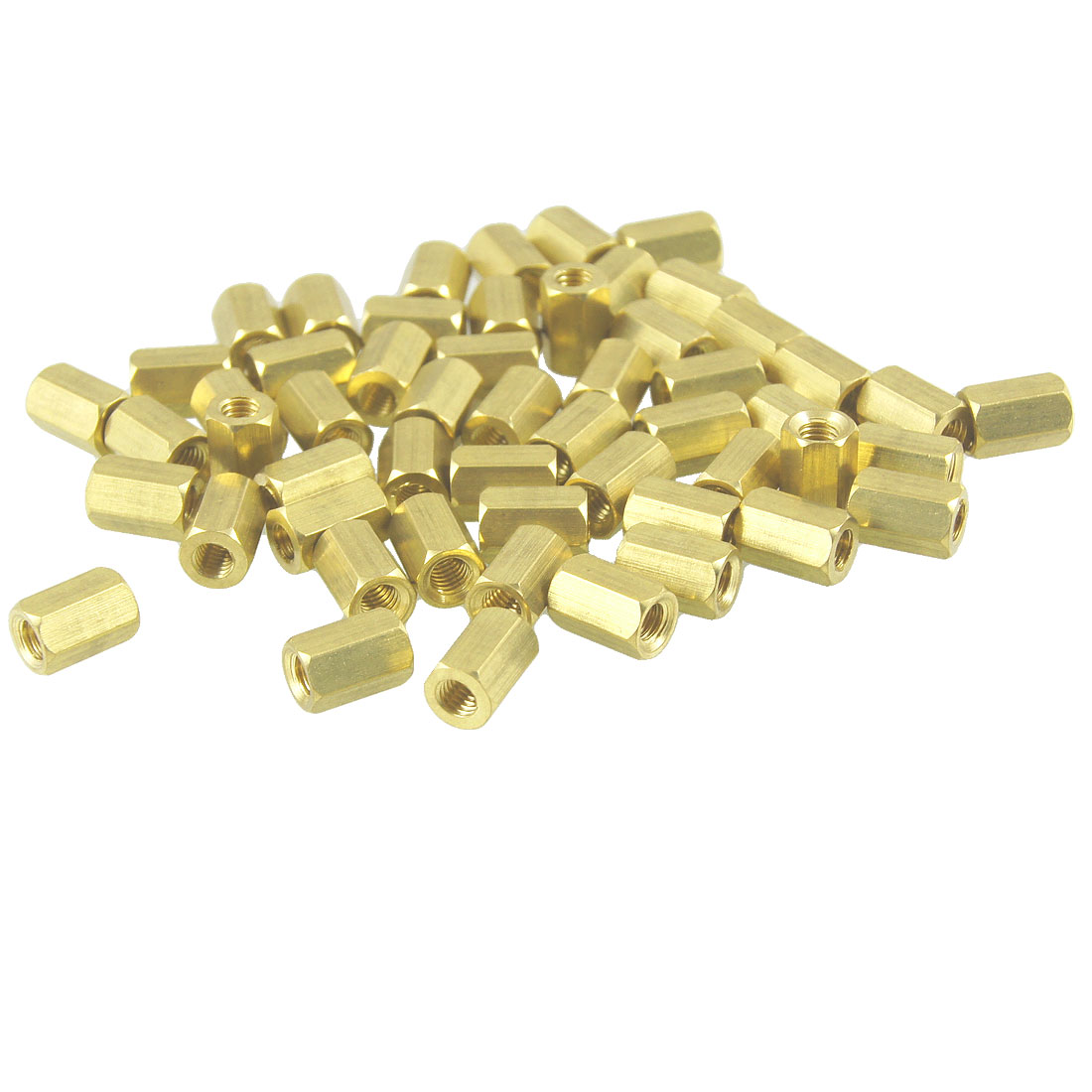50 Pcs M3X7mm Gold Tone Female Thread Standoff Hexagonal Spacers