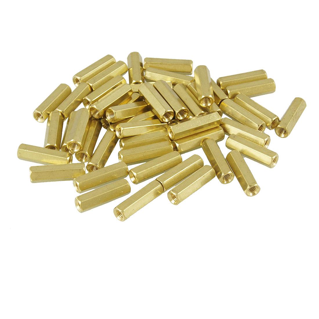 50 Pcs M3X14mm Gold Tone Female Thread PCB Standoff Spacers