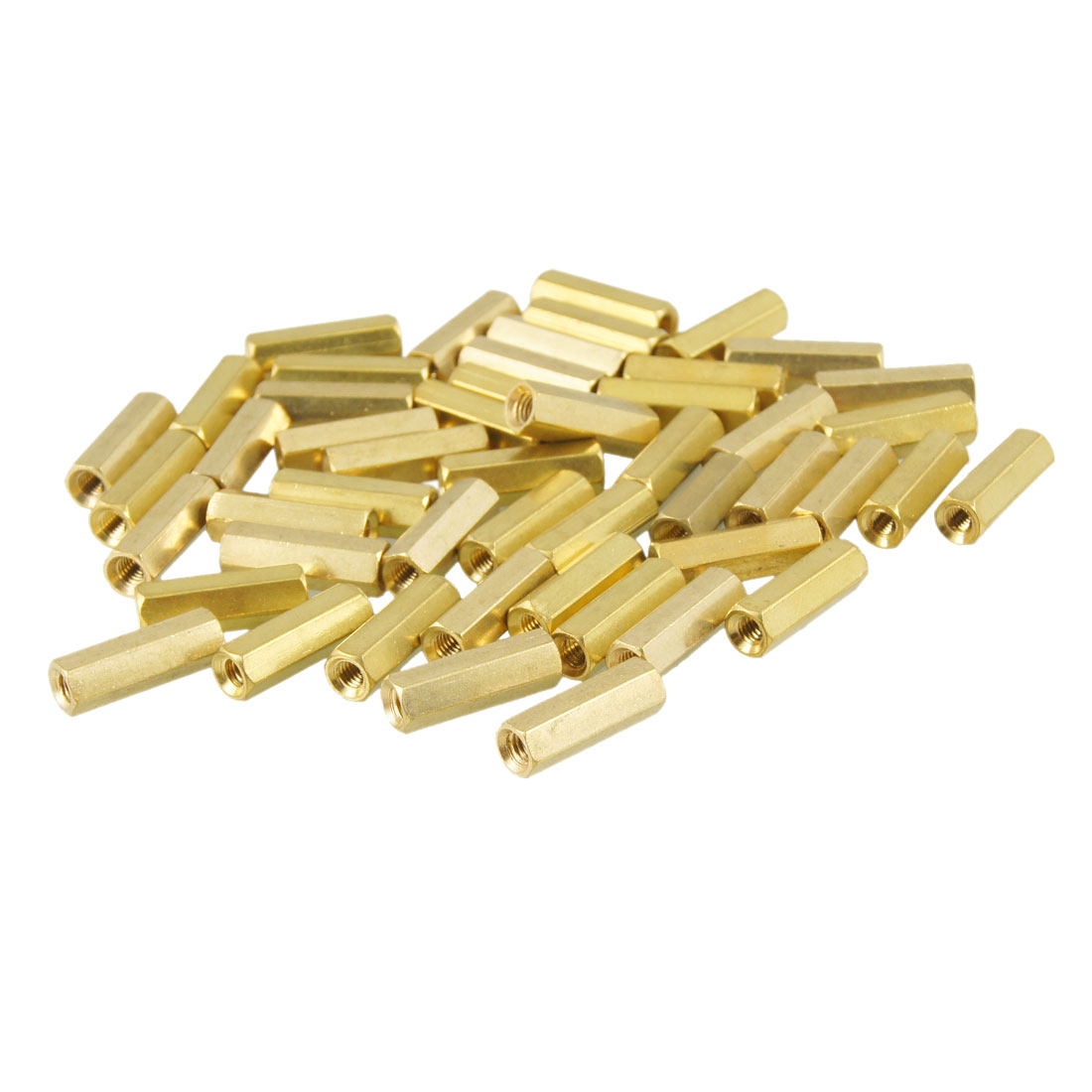 50 Pcs M3X15mm Gold Tone Hexagonal Female Thread Standoff Spacers
