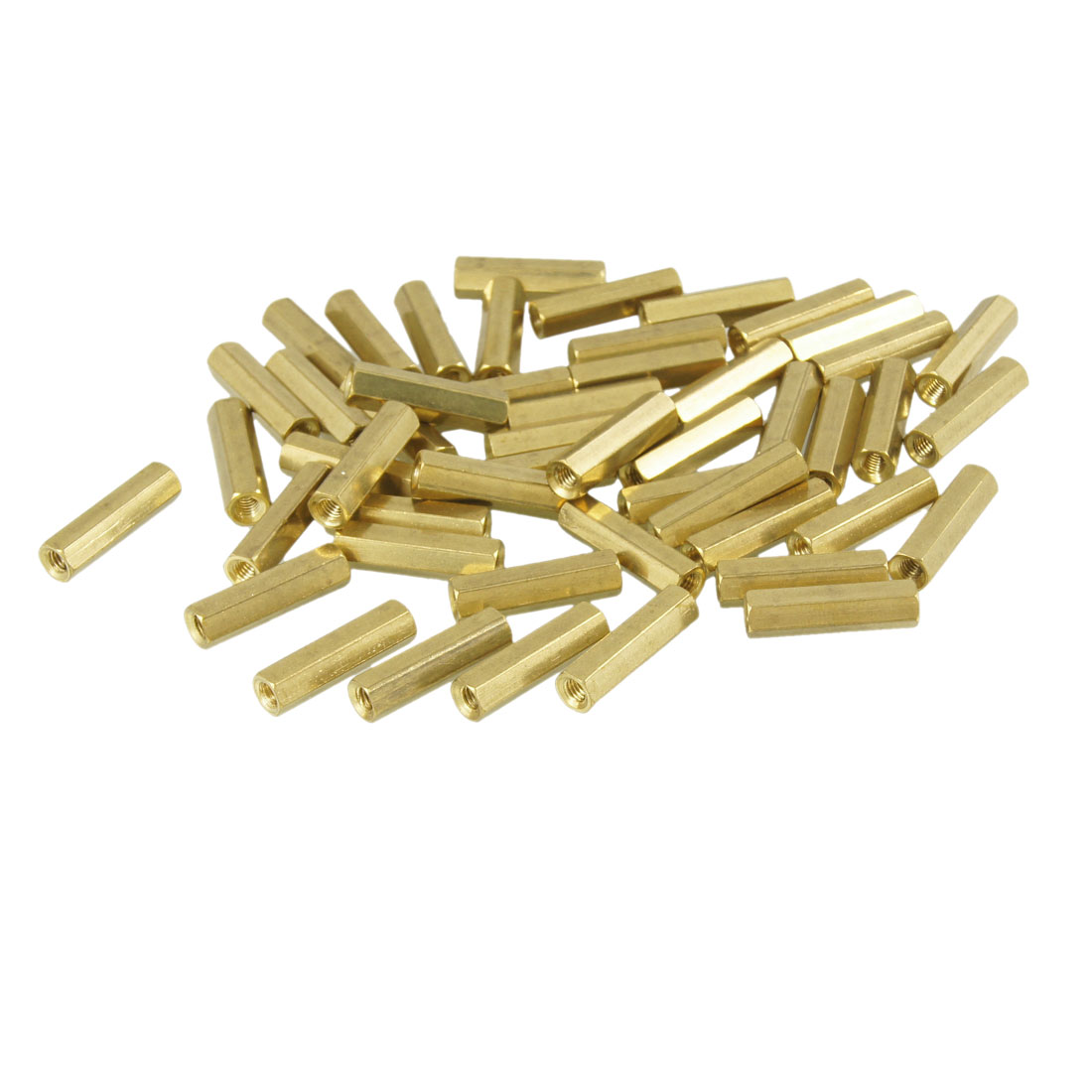 50 Pcs Gold Tone Hexagonal 18mm Long M3 Female Thread Standoff Spacer