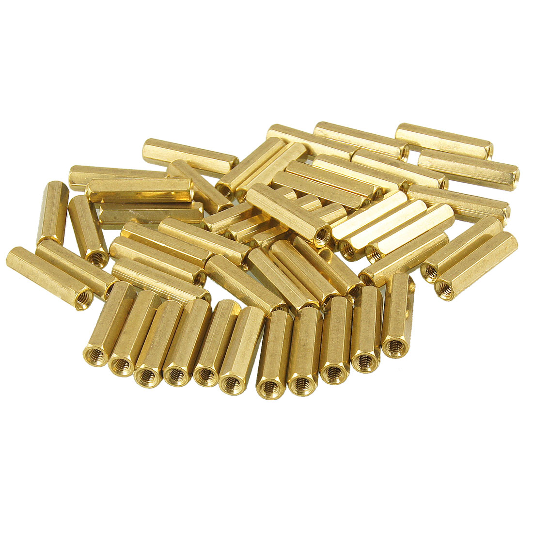 50 Pcs M3X20mm Gold Tone Hexagonal Female Thread Standoff Spacer