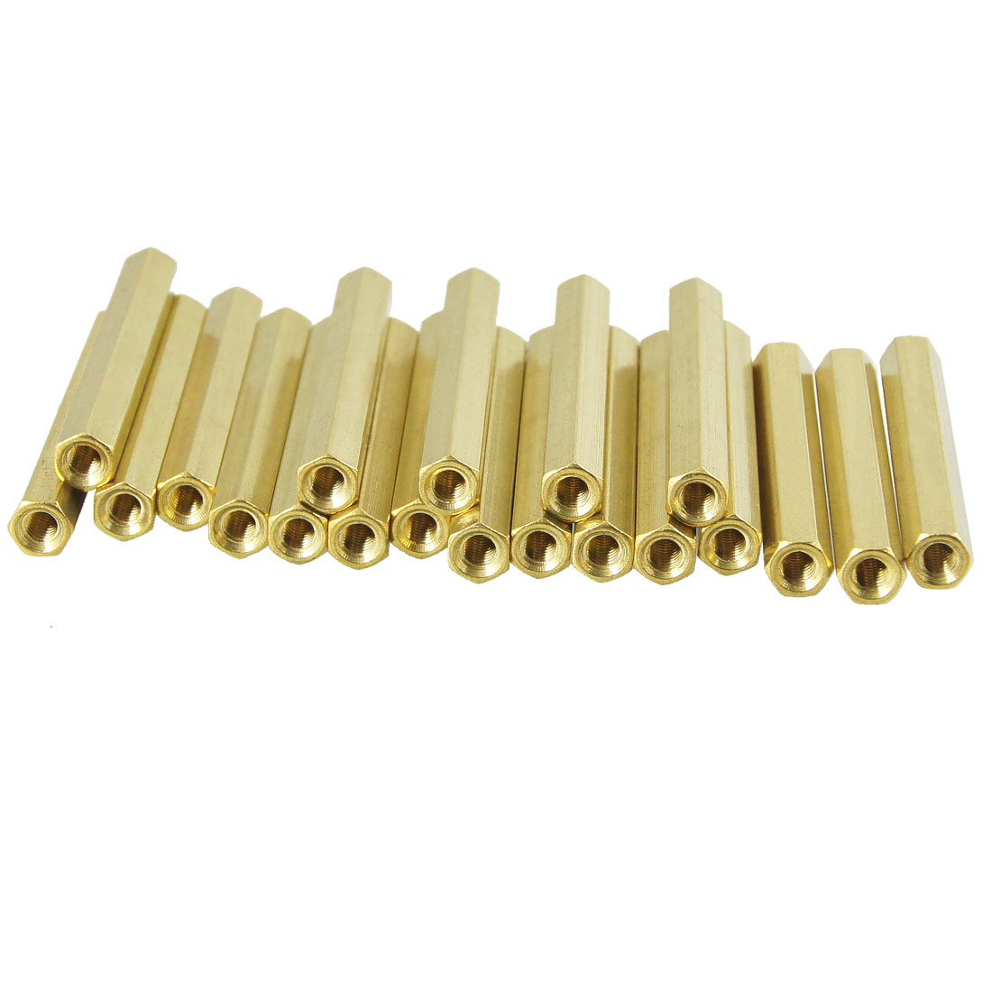 20 Pcs M3X40mm Gold Tone Female Thread Standoff Hexagonal Spacer