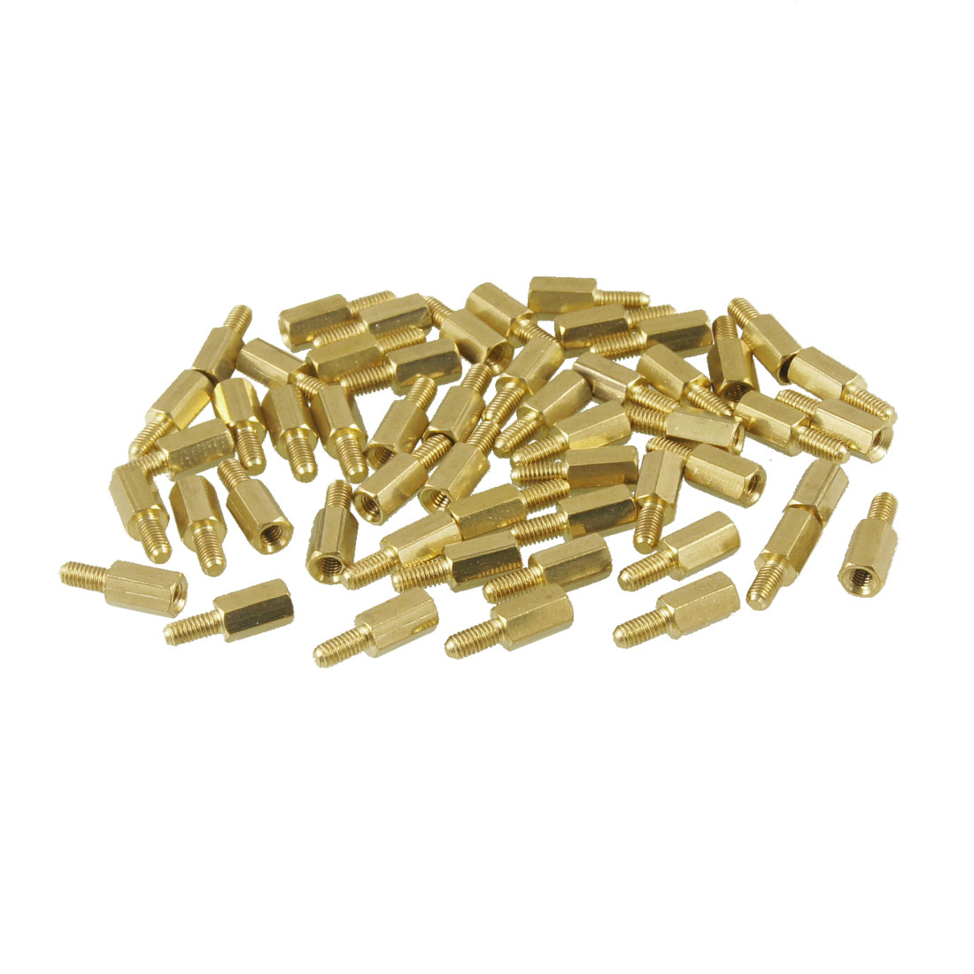 M3 Male x M3 Female 14mm Length Brass Screw Hexagonal Standoff Spacers 50 Pcs